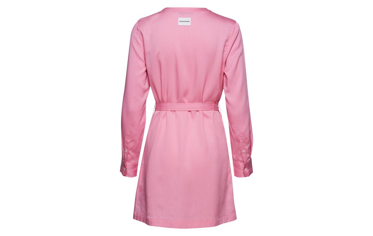 Calvin Jeans Pink Klein Begonia Ls 100 Tencel Tie Dress wR6awHT