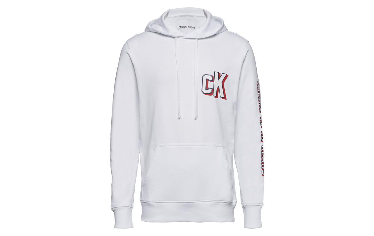 White Hoodie Sleeve Jeans Calvin Klein Bright Logo xnYIfU