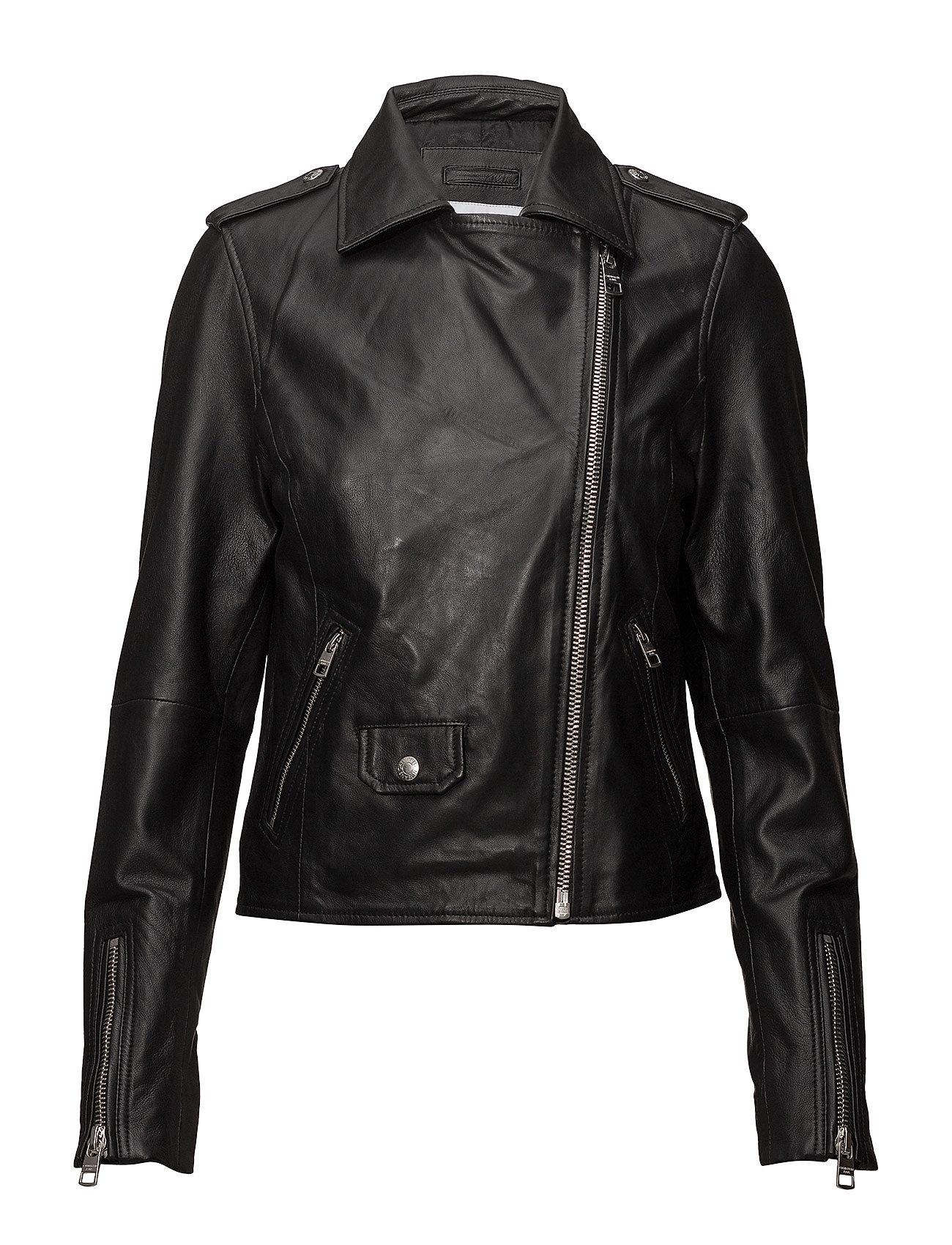 Leather Biker Jacket Læderjakke Skindjakke Sort CALVIN KLEIN JEANS