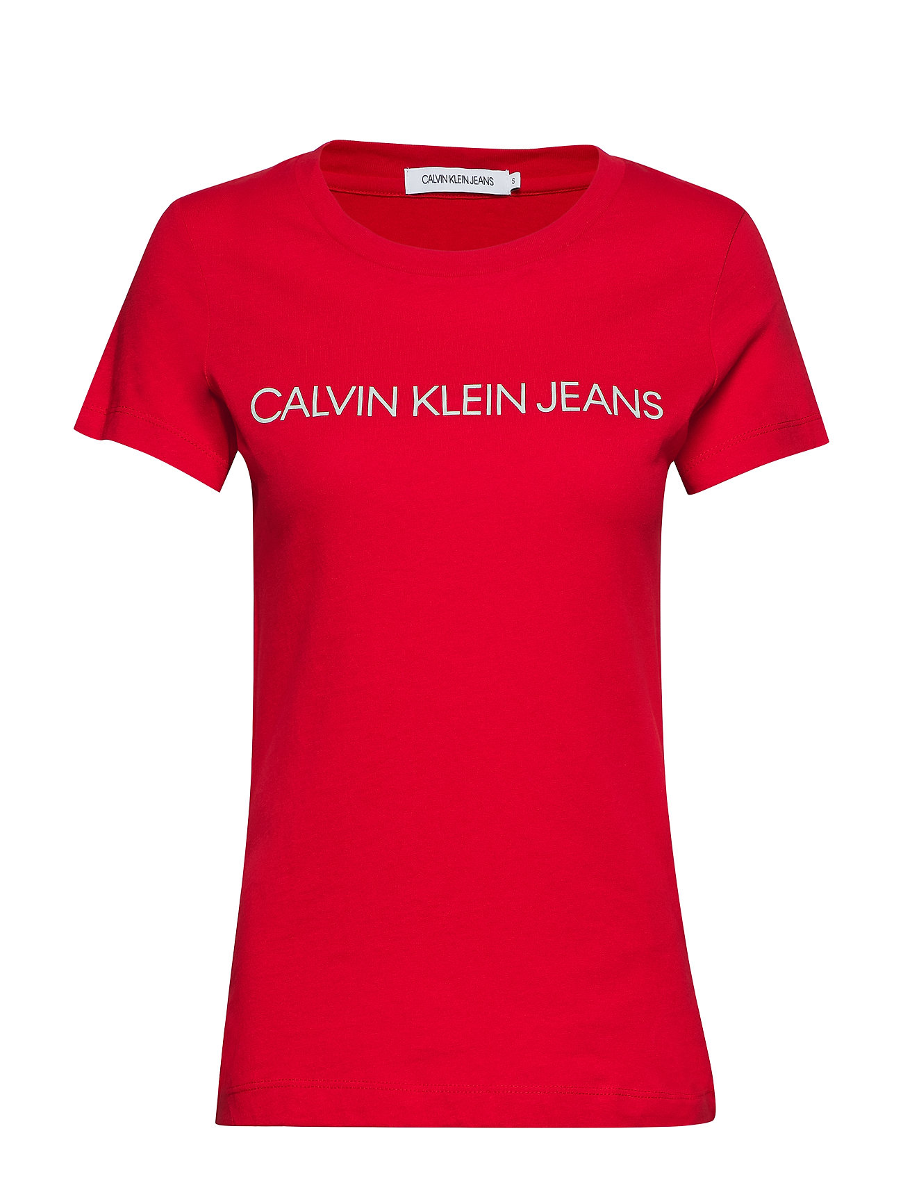 Calvin Klein Jeans INSTITUTIONAL LOGO SLIM FIT TEE - BARBADOS CHERRY/ SOOTHING SEA
