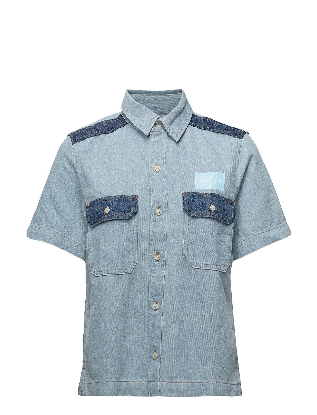 Calvin Klein Jeans SS Boxy Shirt blocke - IRWIN BLUE BLOCKED