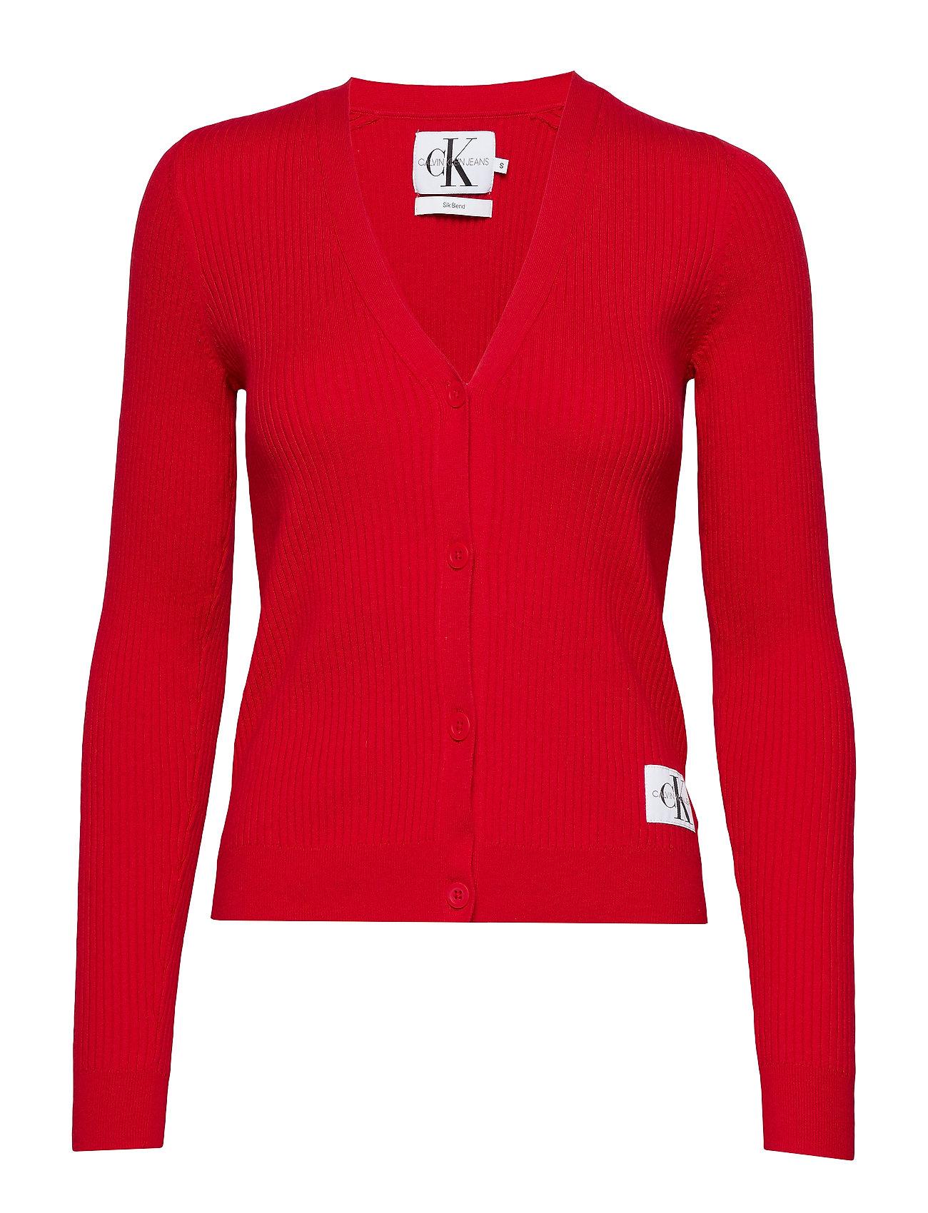 Calvin Klein Jeans ICONIC RIB CARDIGAN, - RACING RED