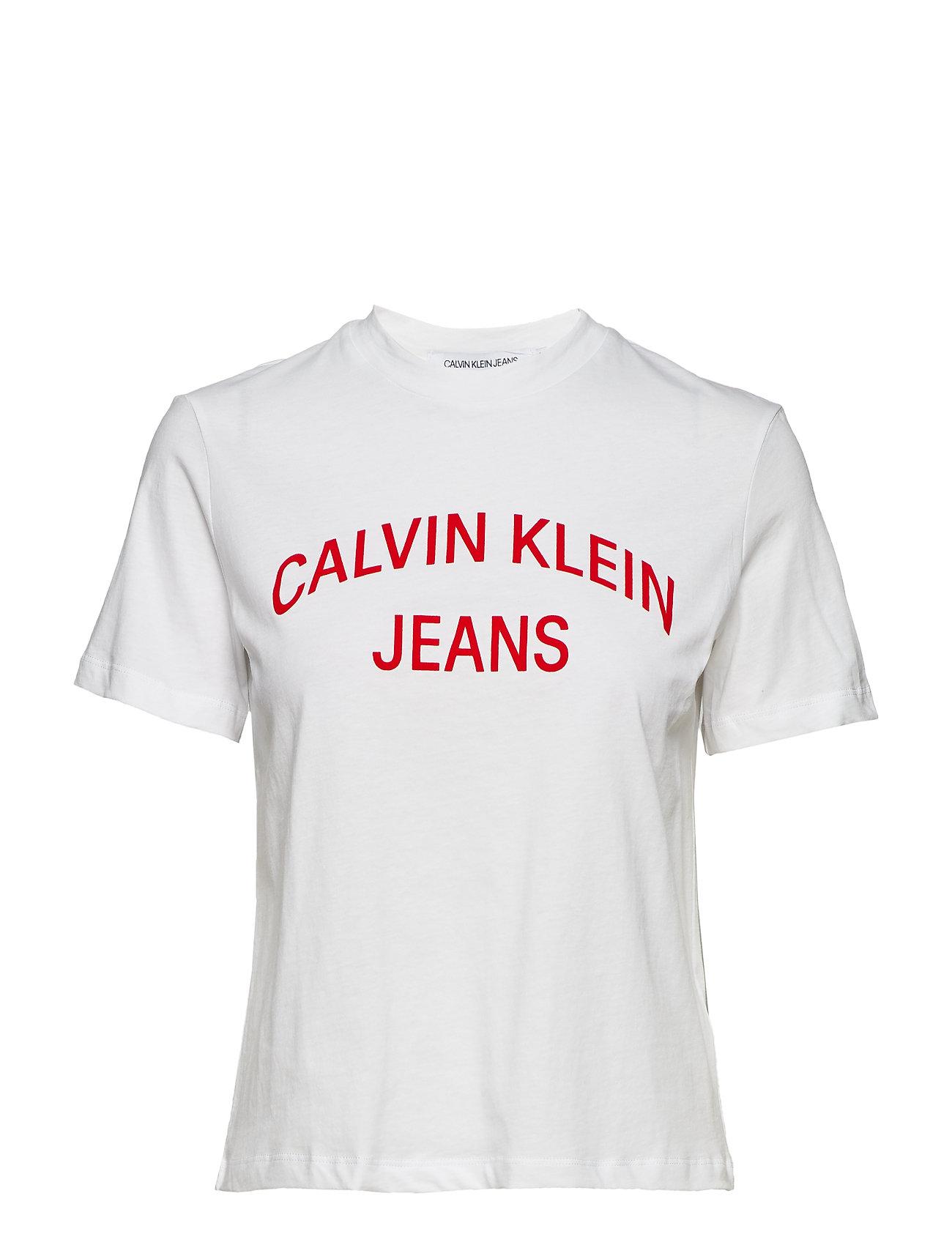 Calvin Klein Jeans INST. CURVED LOGO ST - BRIGHT WHITE