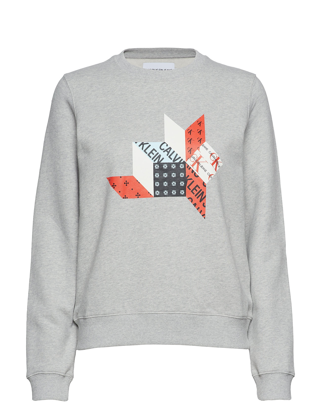 Calvin Klein Jeans QUILT GRAPHIC CREW N - LIGHT GREY HEATHER