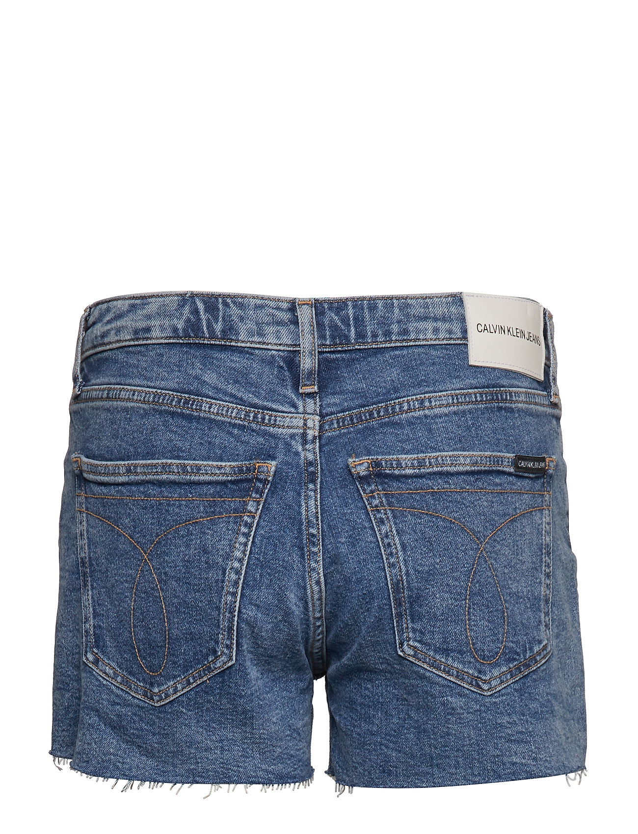 Calvin Klein Jeans - MID RISE WEEKEND SHO - denim shorts - iconic mid stone raw embroider - 1