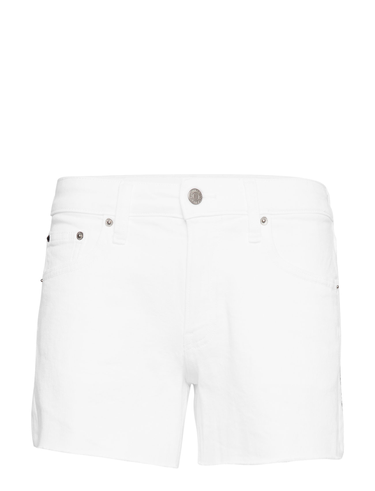 Calvin Klein Jeans MID RISE WEEKEND SHORT - POP WHITE RAW EMBROIDERY BLUE