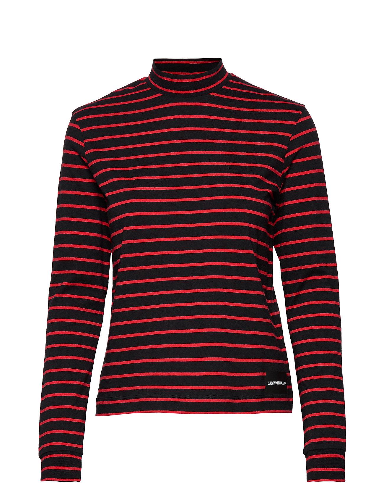 Calvin Klein Jeans MOCK NECK LS TEE - CK BLACK/ RED STRIPES