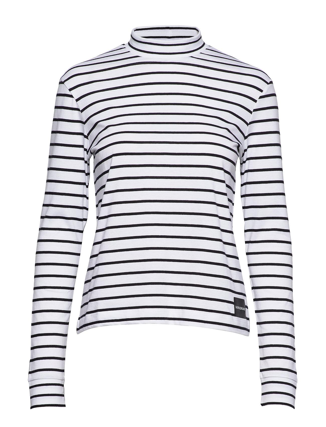 Calvin Klein Jeans MOCK NECK LS TEE, 90 - WHITE/CK BLACK STRIPES