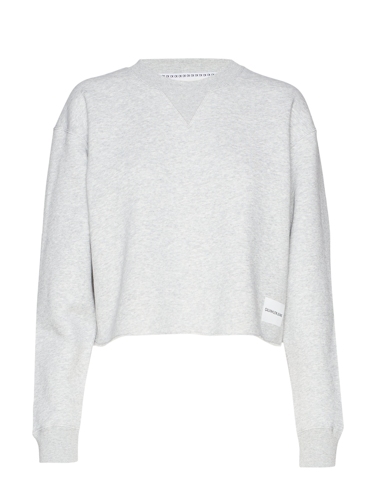 Calvin Klein Jeans RAW HEM CREW NECK - LIGHT GREY HEATHER