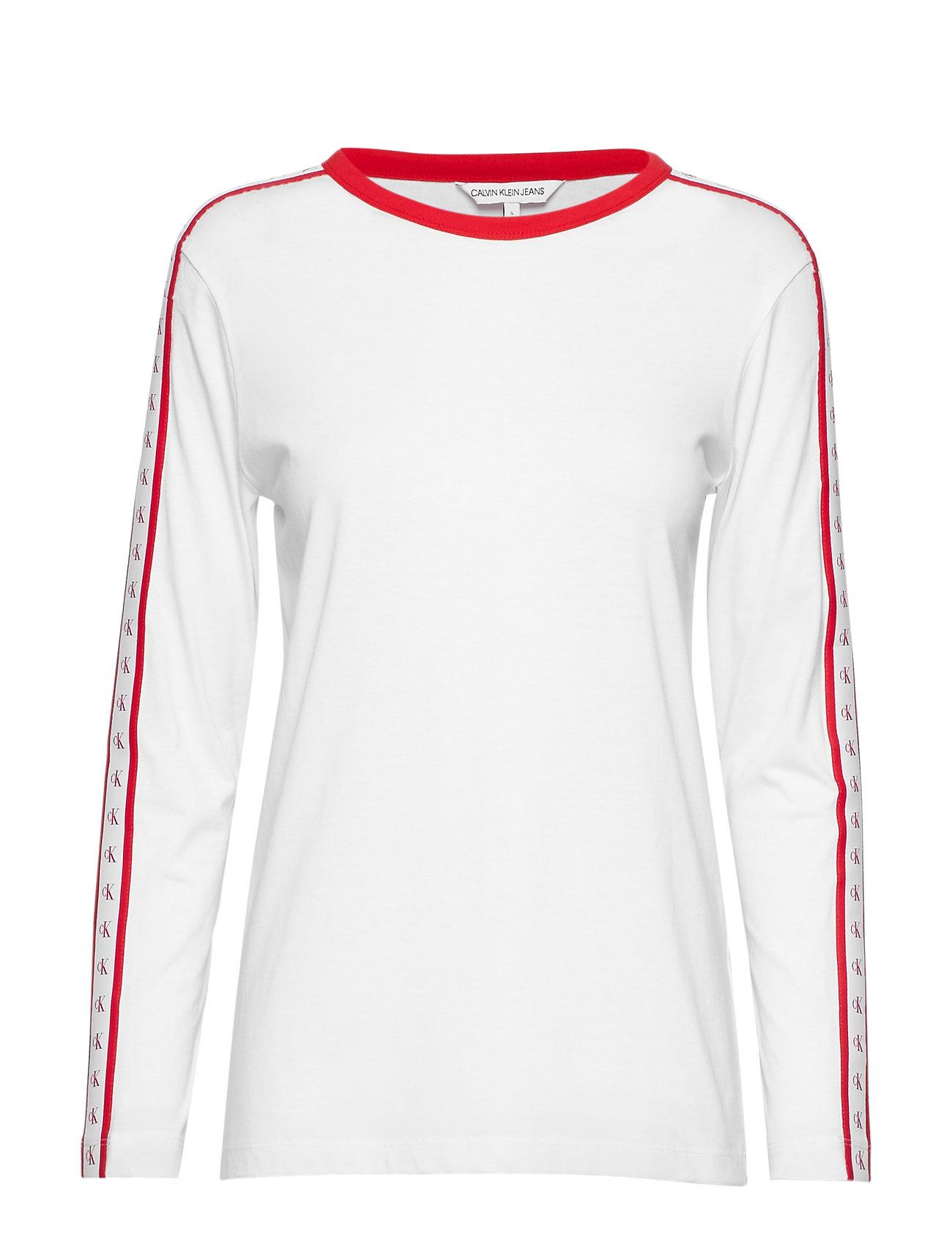 Calvin Klein Jeans MONOGRAM TAPE STRAIG - BRIGHT WHITE / RED
