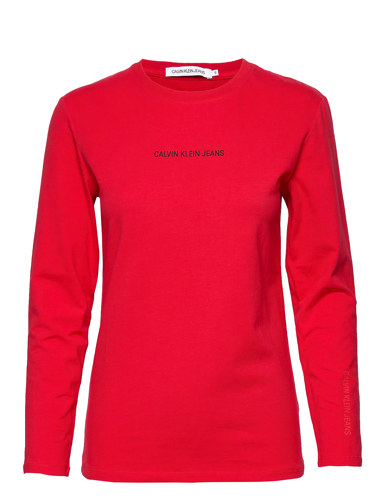 Calvin Klein Jeans INST LOGO STRETCH LS SLIM TEE - RACING RED