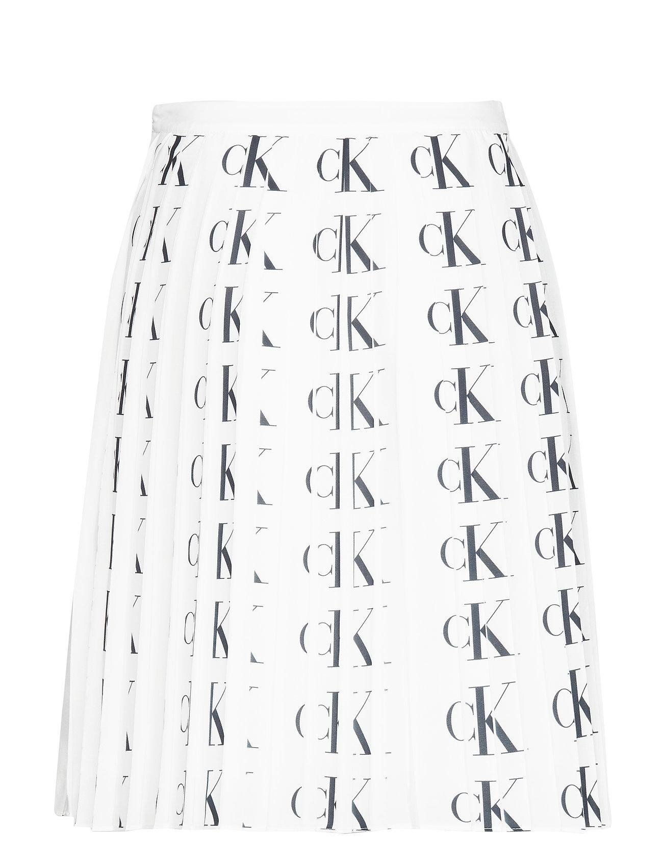 black Aop Klein Pleated LogoCalvin Jeans Skirtck White wvym8ONn0