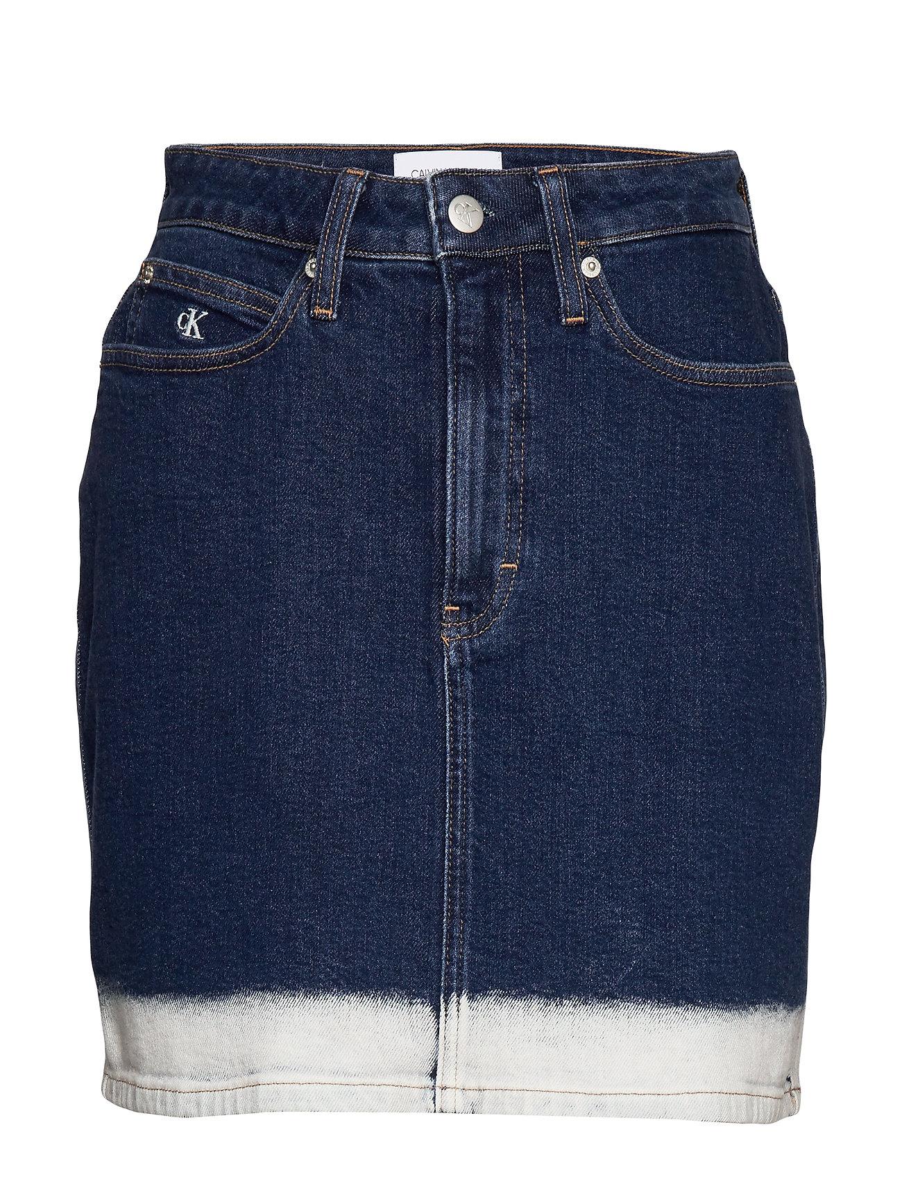 Calvin Klein Jeans HIGH RISE MINI SKIRT - CA032 DARK BLUE BLEACH SIDE ST