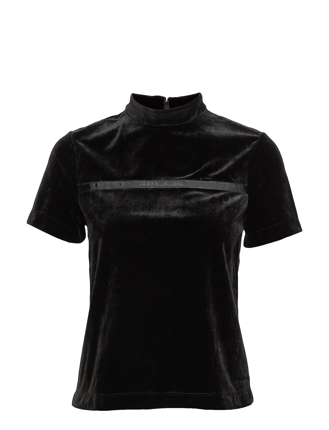 Calvin Klein Jeans VELVET MOCK NECK TOP - CK BLACK
