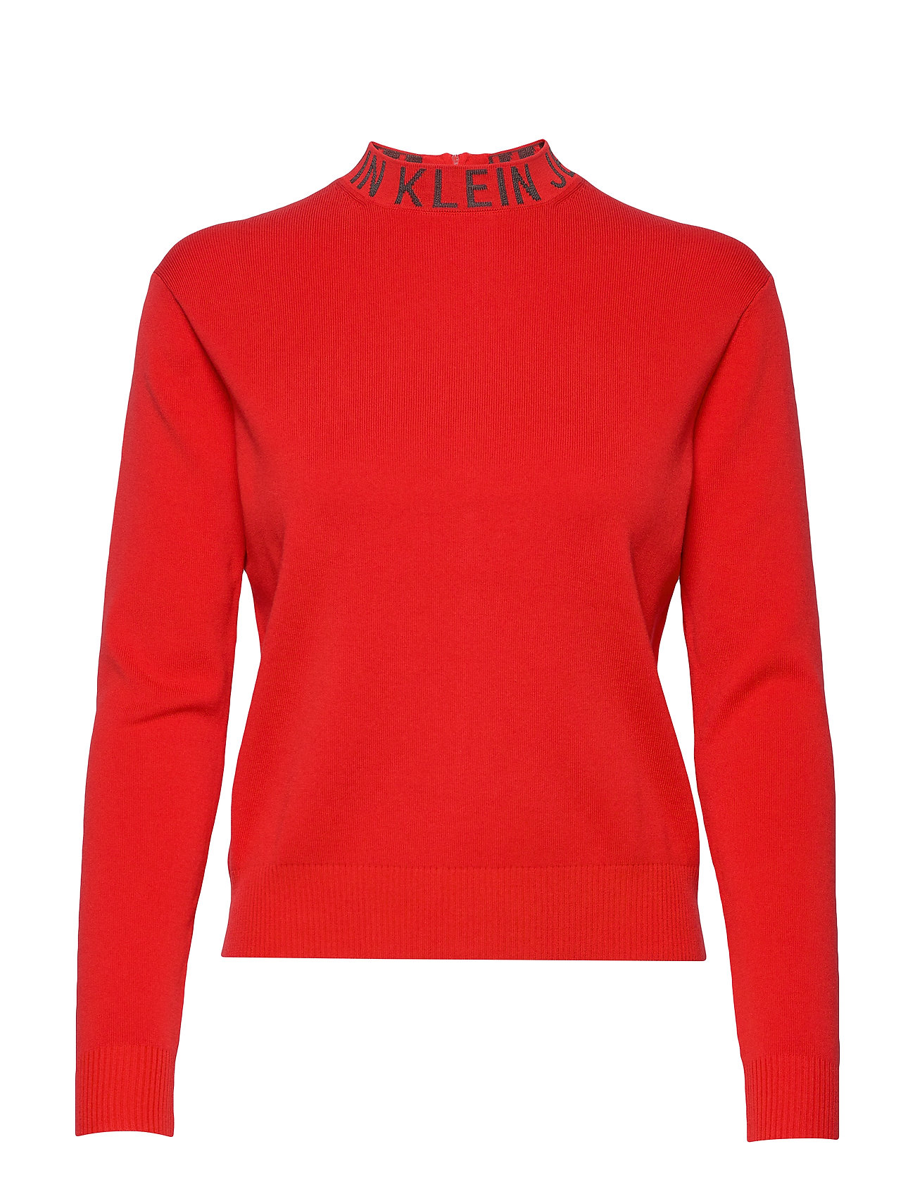 Calvin Klein Jeans NECK LOGO SWEATER - RACING RED