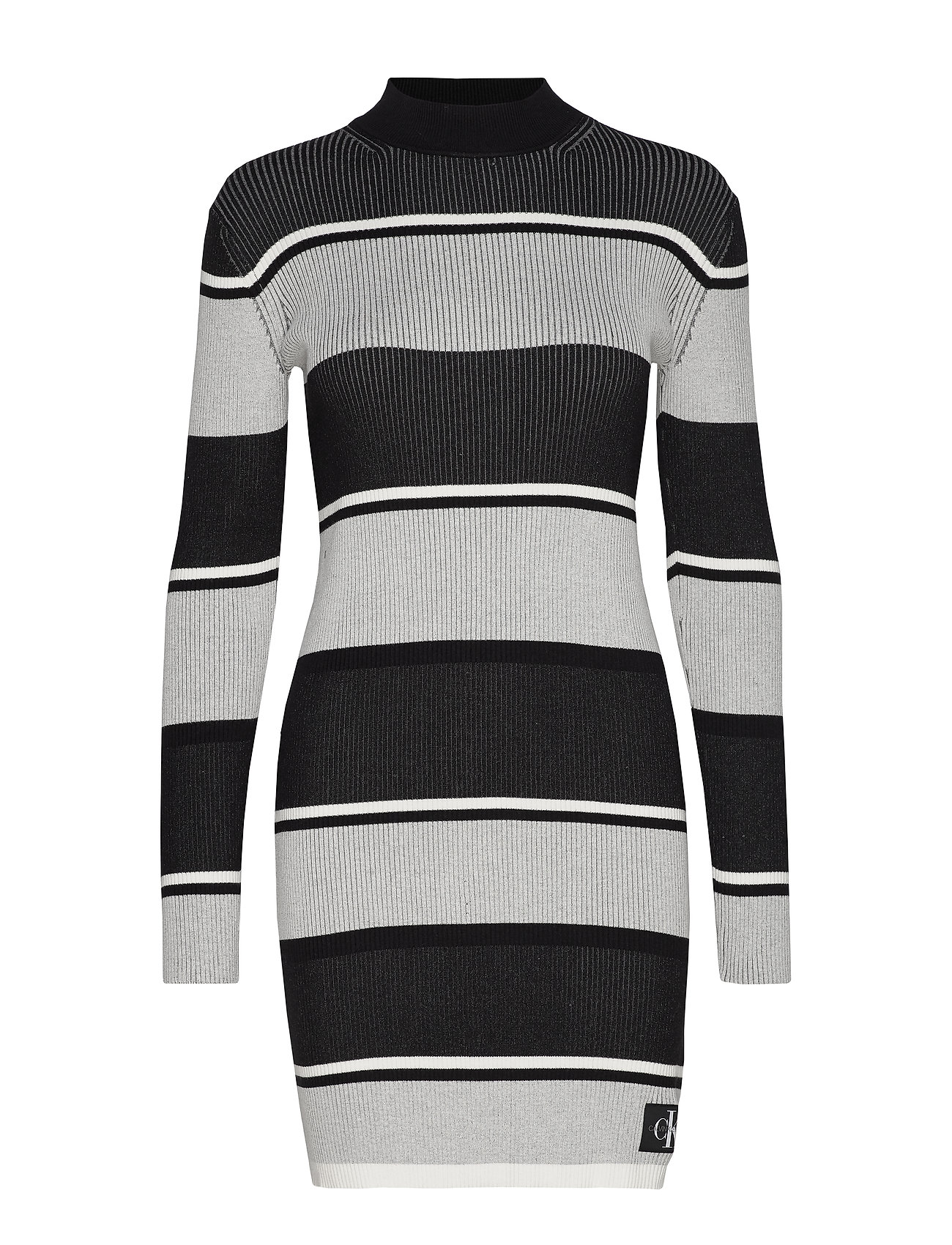 Calvin Klein Jeans LONG SLEEVE RIB SWEATER DRESS - BLACK / WHITE / GREY STRIPE
