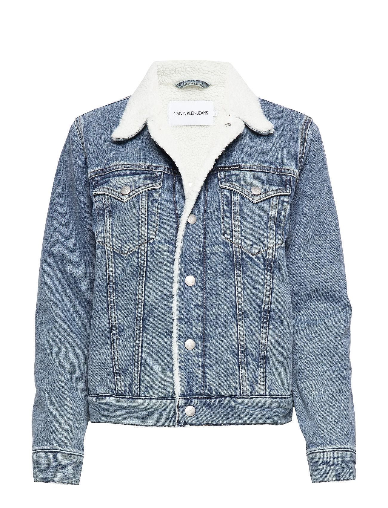 Calvin Klein Jeans SHERPA FOUNDATION DENIM TRUCKER - CA081 BRIGHT BLUE
