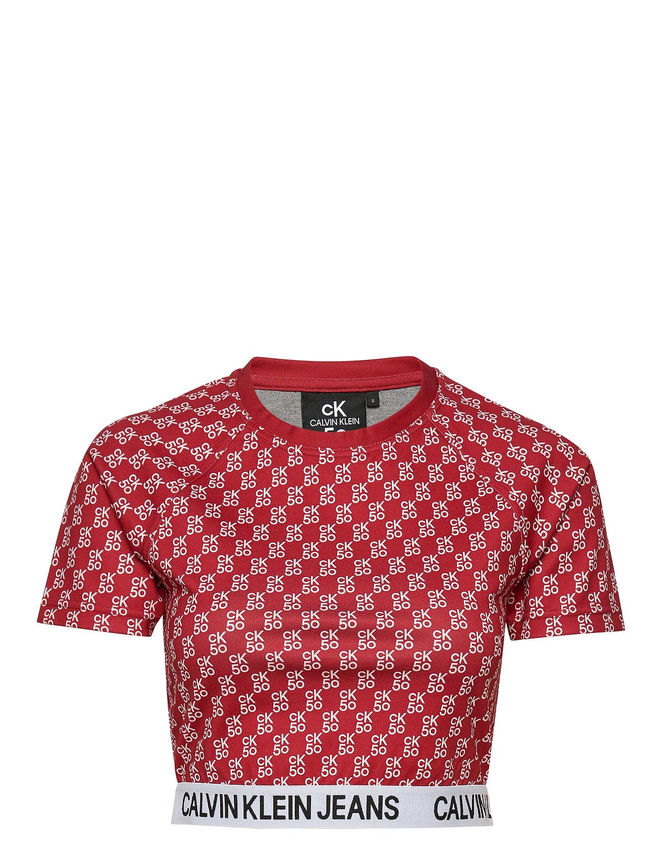 Calvin Klein Jeans MILANO SS TOP - CK50 AOP RED/ WHITE LOGO