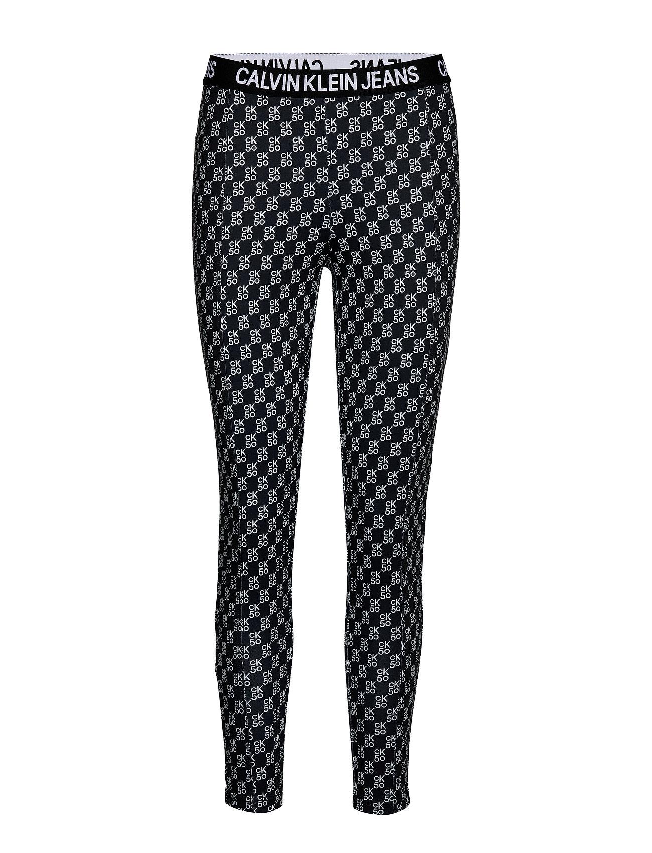 Calvin Klein Jeans AOP MILANO LEGGINGS - CK50 AOP BLACK/ WHITE LOGO