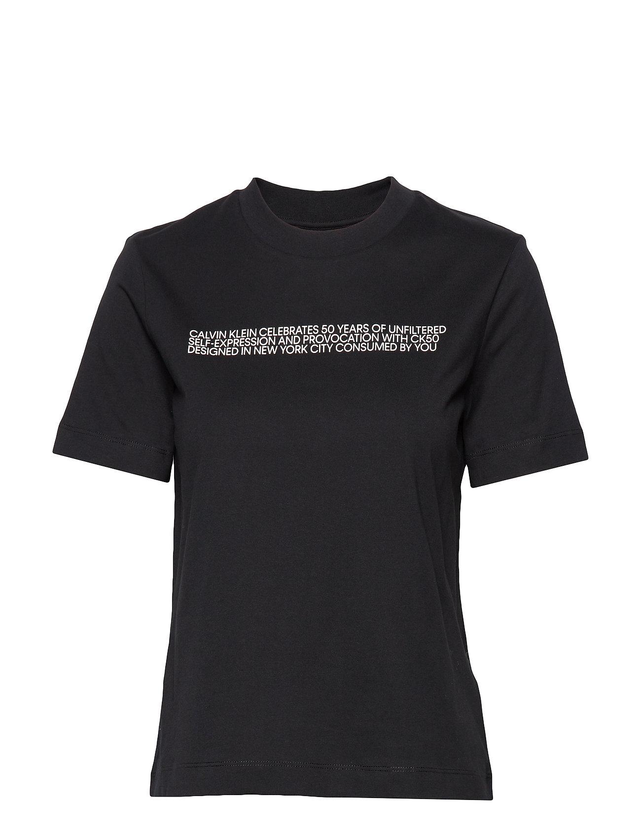 Calvin Klein Jeans BIOGRAPGHY STRAIGHT SS CN TEE - BLACK BEAUTY