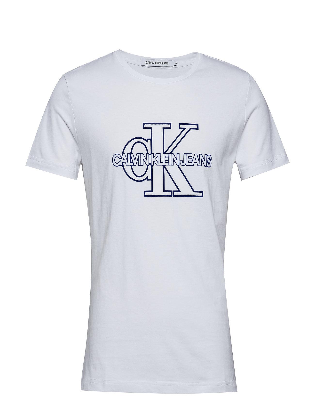 Calvin Klein Jeans CK MONOGRAM FRONT LOGO SLIM SS - BRIGHT WHITE / SURF THE WEB