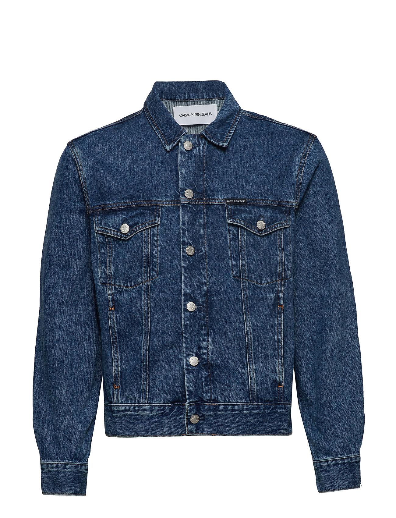 Calvin Klein Jeans MODERN CLASSIC TRUCKER - MID STONE- EMBROIDERED MOUNTAI
