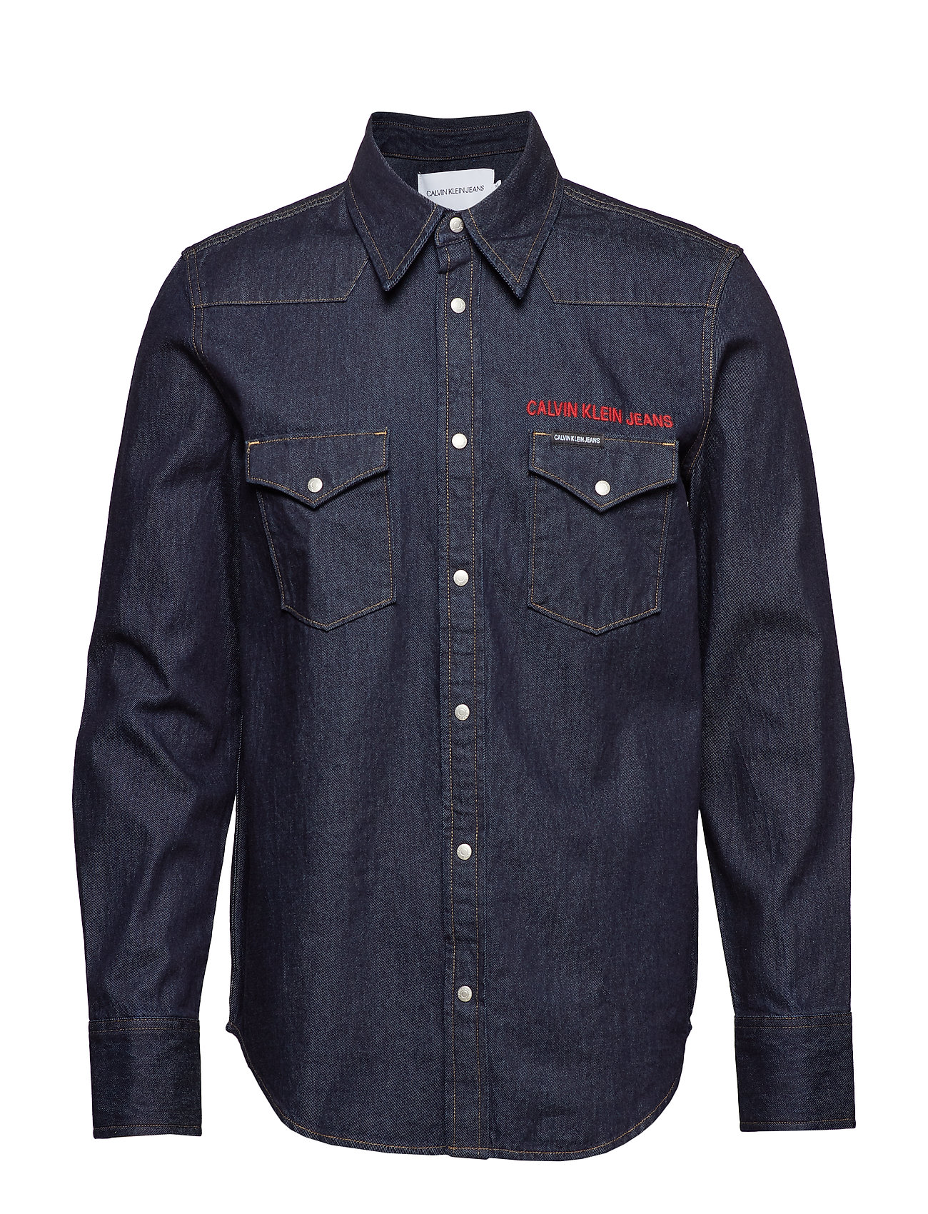 Calvin Klein Jeans FOUNDATION WESTERN SHIRT - RINSE WITH RED EMBROIDERY