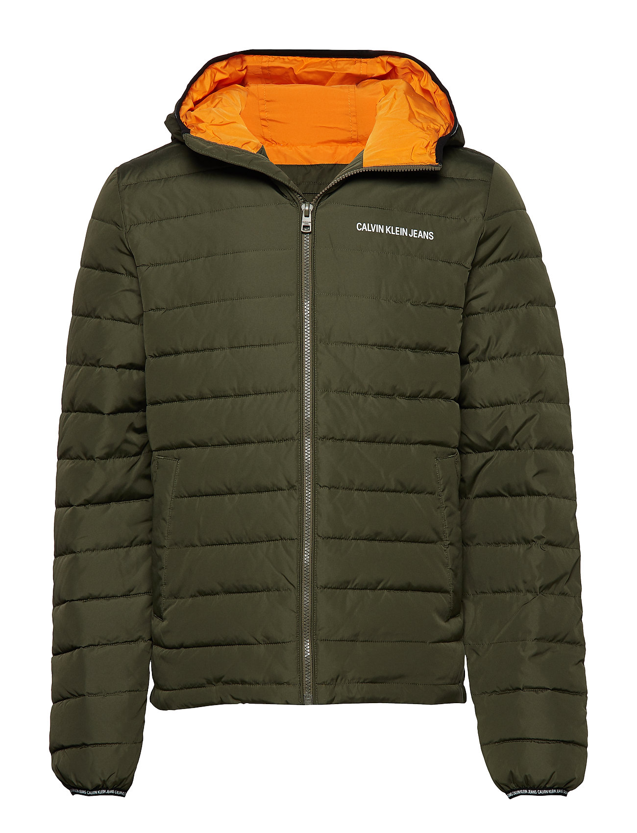 Calvin Klein Jeans PADDED HOODED JACKET - GRAPE LEAF/ORANGE
