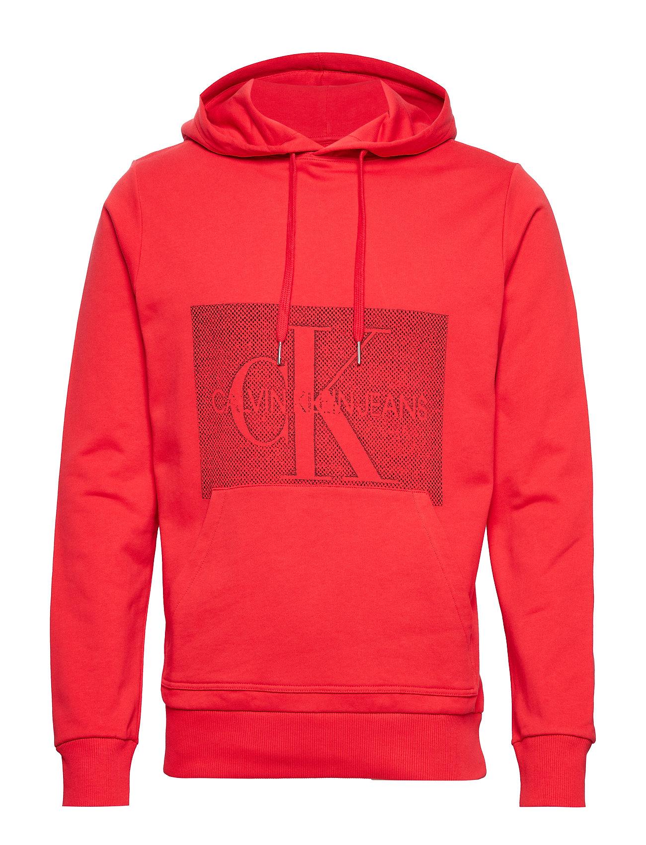 Calvin Klein Jeans OFF PLACED MONOGRAM REG HOODIE - RACING RED