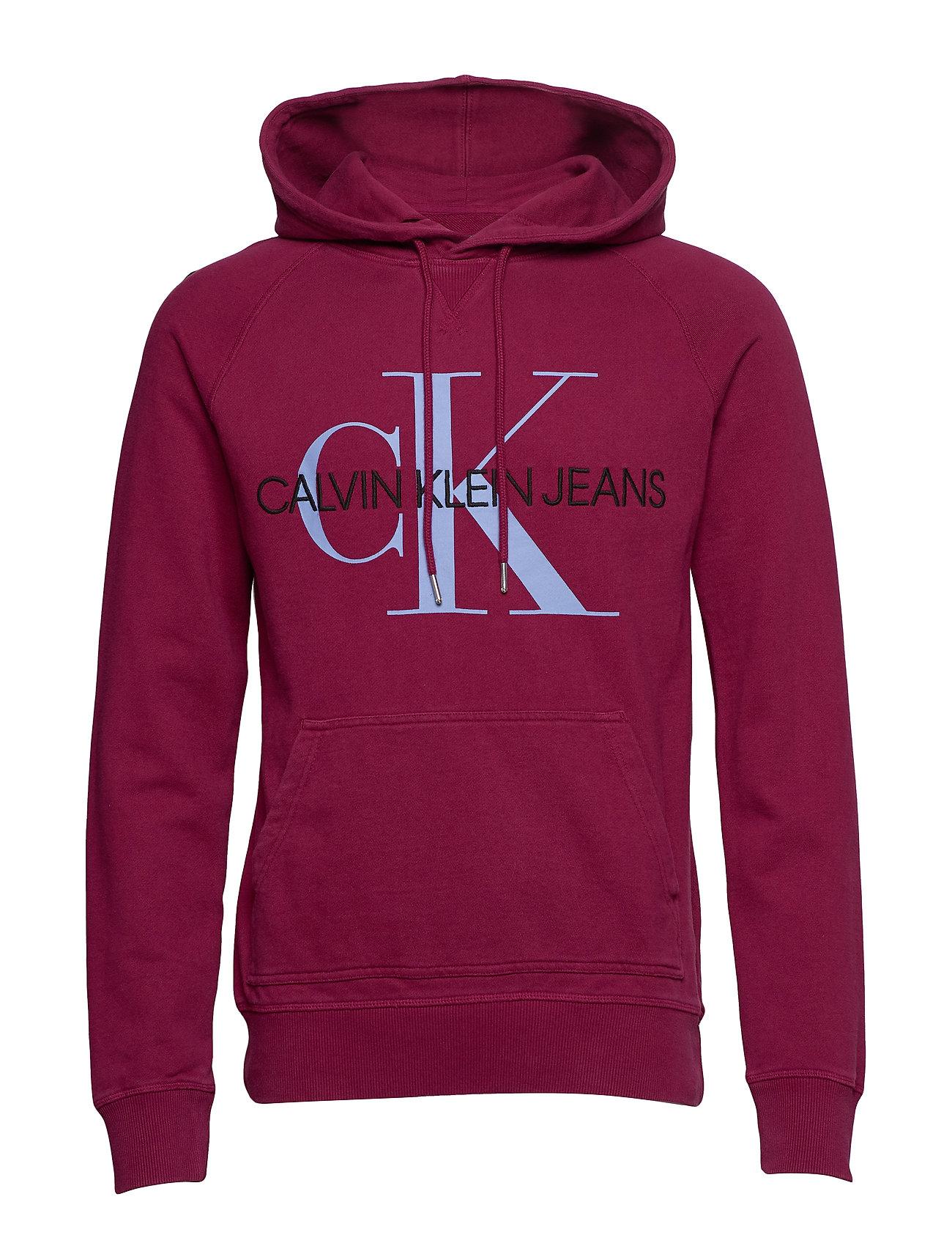 Calvin Klein Jeans WASHED REG MONOGRAM HOODIE - BEET RED