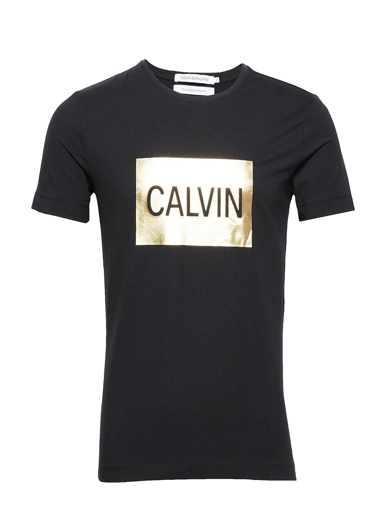Calvin Klein Jeans CALVIN SLIM SS TEE - CK BLACK / GOLD