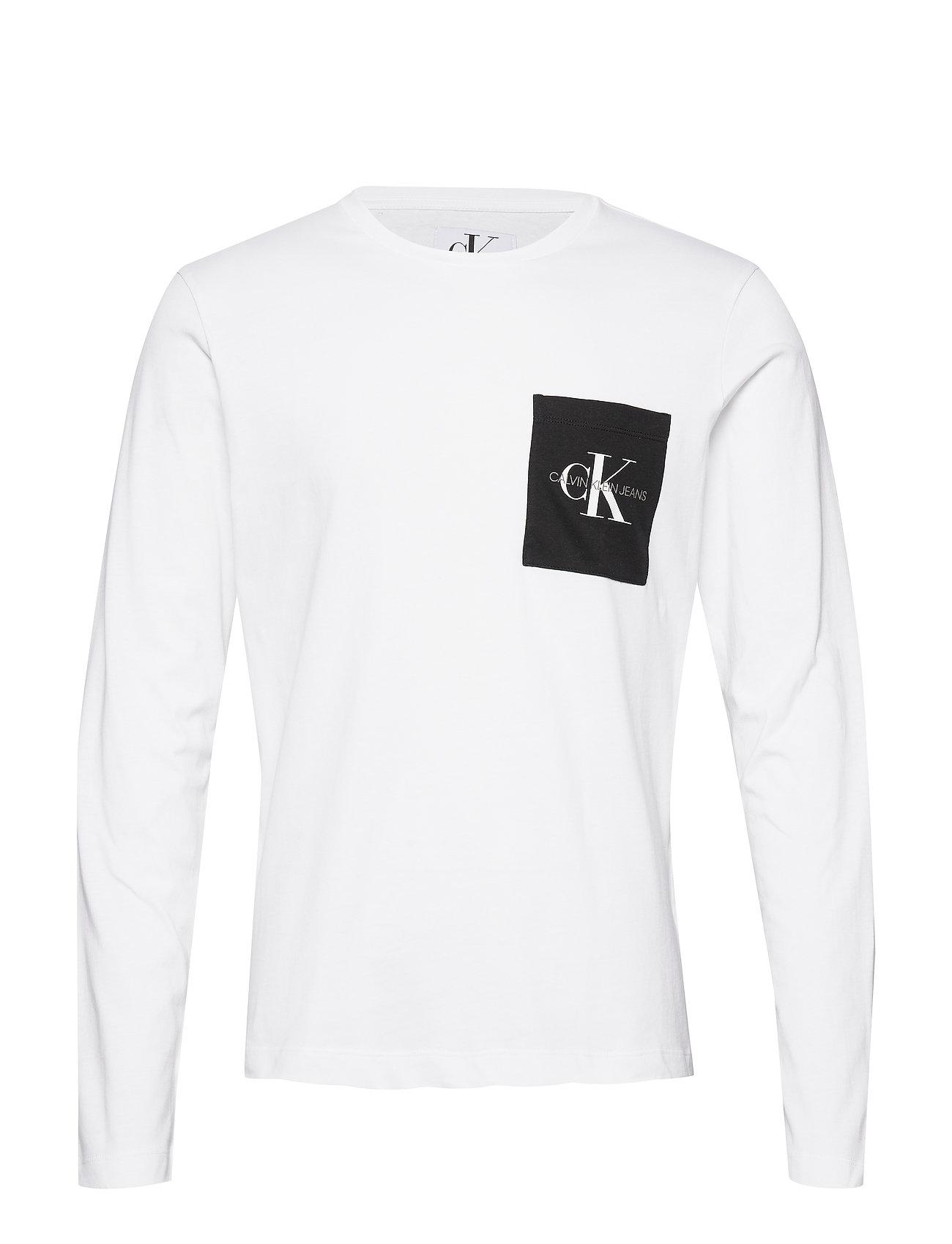 Calvin Klein Jeans MONOGRAM POCKET SLIM LS TEE - BRIGHT WHITE/ CK BLACK