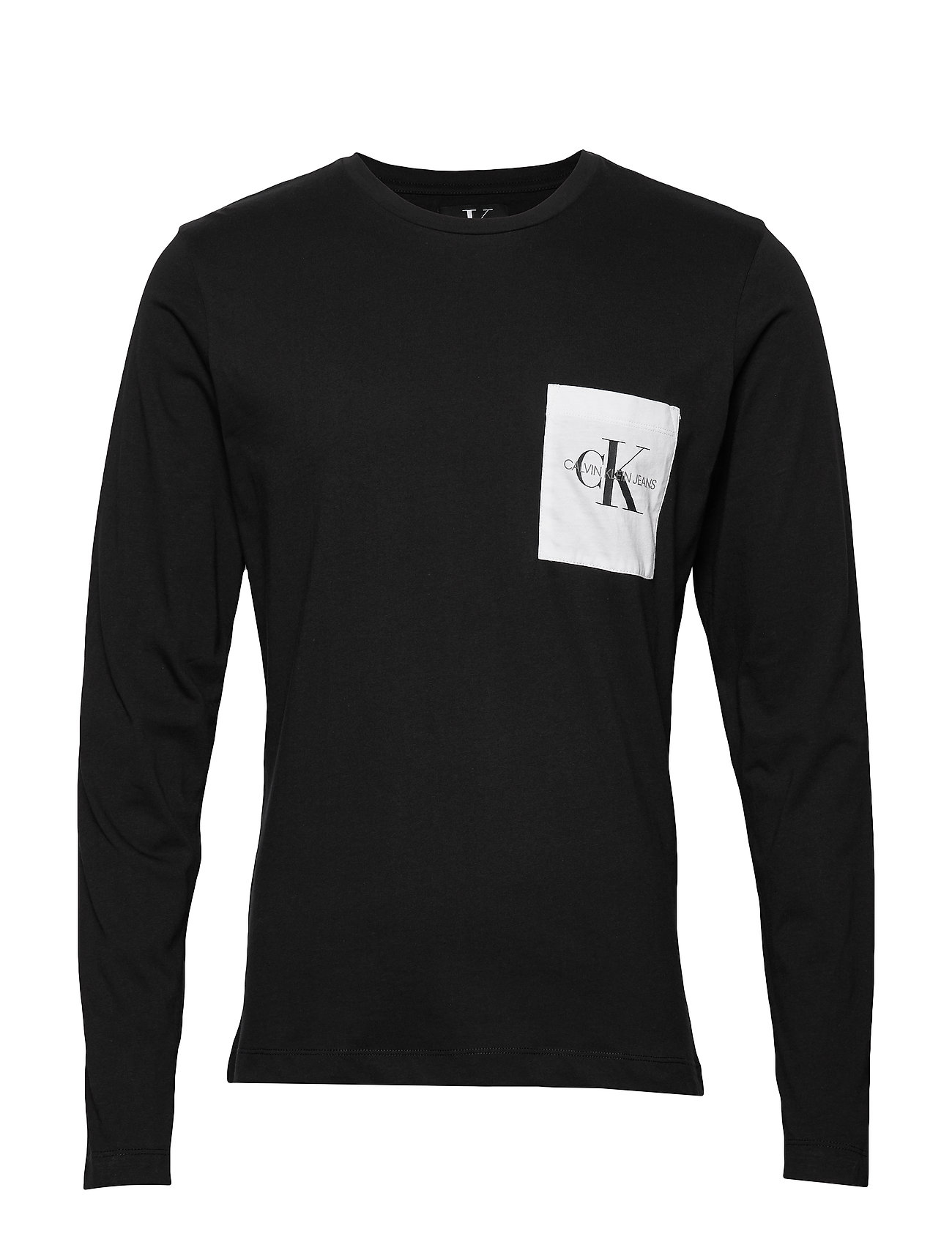 Calvin Klein Jeans MONOGRAM POCKET SLIM LS TEE - CK BLACK / WHITE