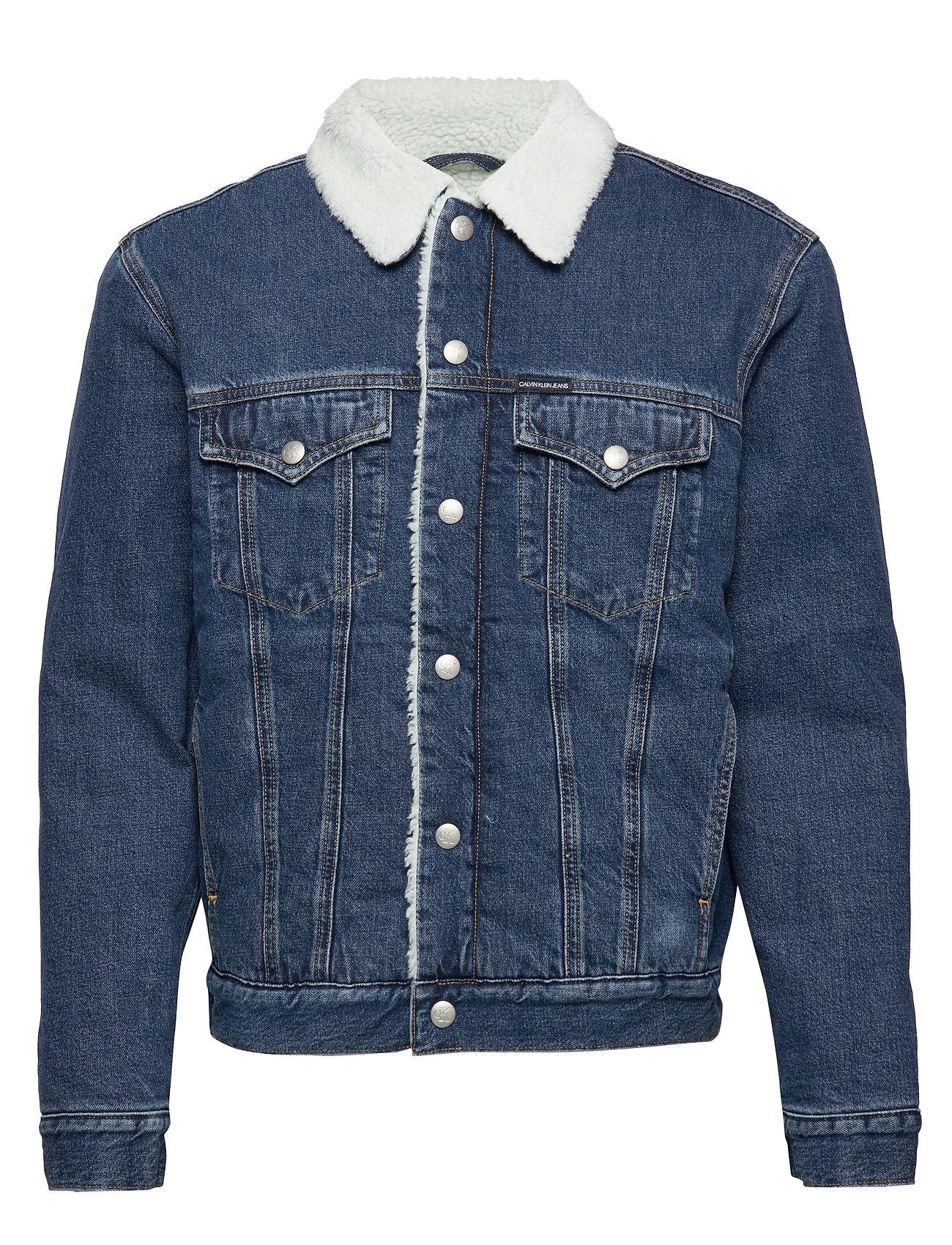 Calvin Klein Jeans SHERPA FOUNDATION DENIM JACKET - CA003 MID BLUE