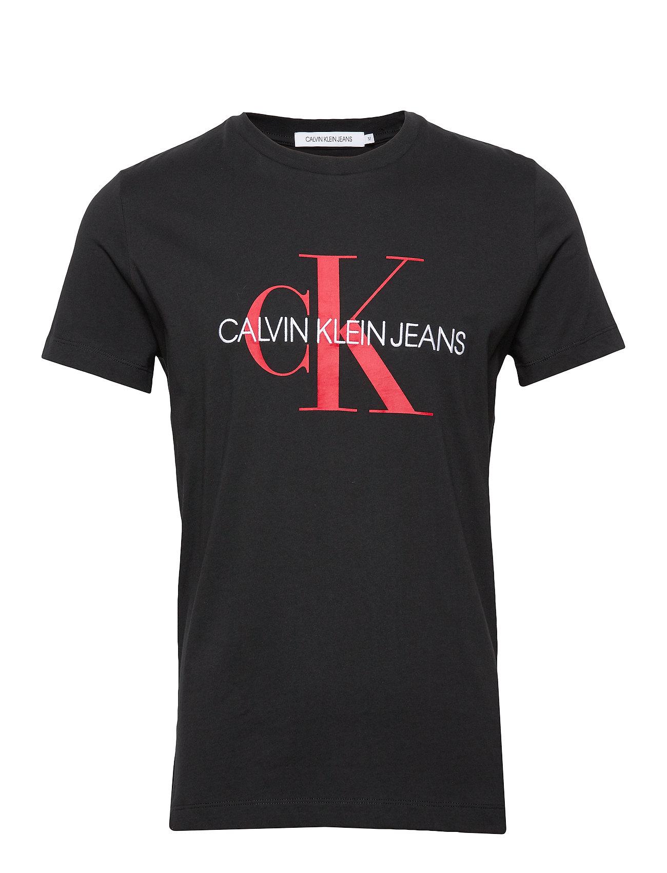 Calvin Klein Jeans MONOGRAM LOGO SLIM TEE - CK BLACK / RACING RED