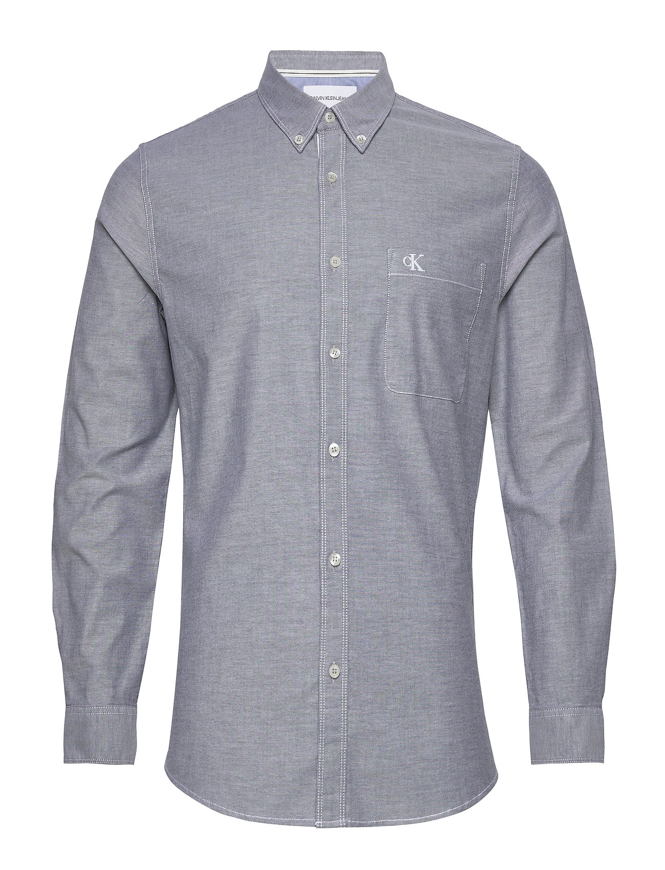 Image of Chambray Slim Stretch Skjorte Casual Grå Calvin Klein Jeans (3424647781)