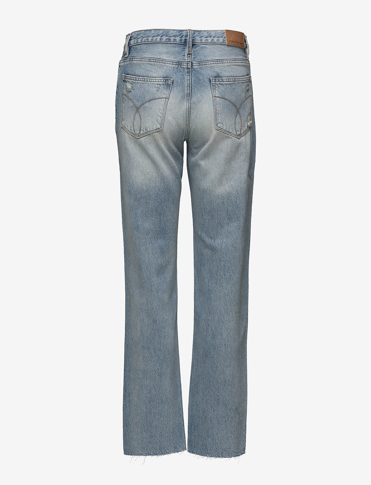 Calvin Klein Jeans - HR straight ankle raw-Tron Blue Des - straight jeans - tron blue destructed - 1