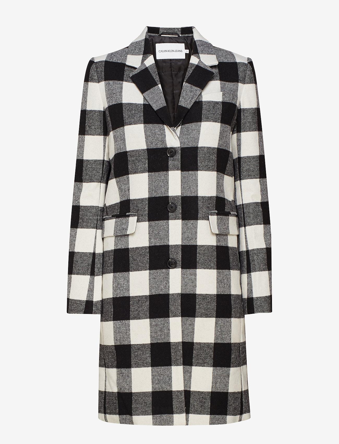 Calvin Klein Jeans - CHECK WOOL CROMBIE - manteaux legères - black/white