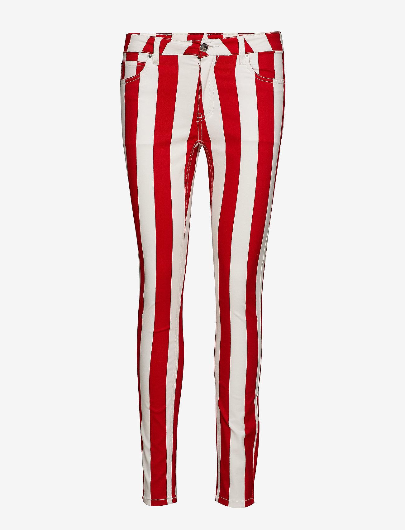 Calvin Klein Jeans - MID RISE SKINNY STRIPE PANT - broeken med skinny fit - racing red/bright white - 0