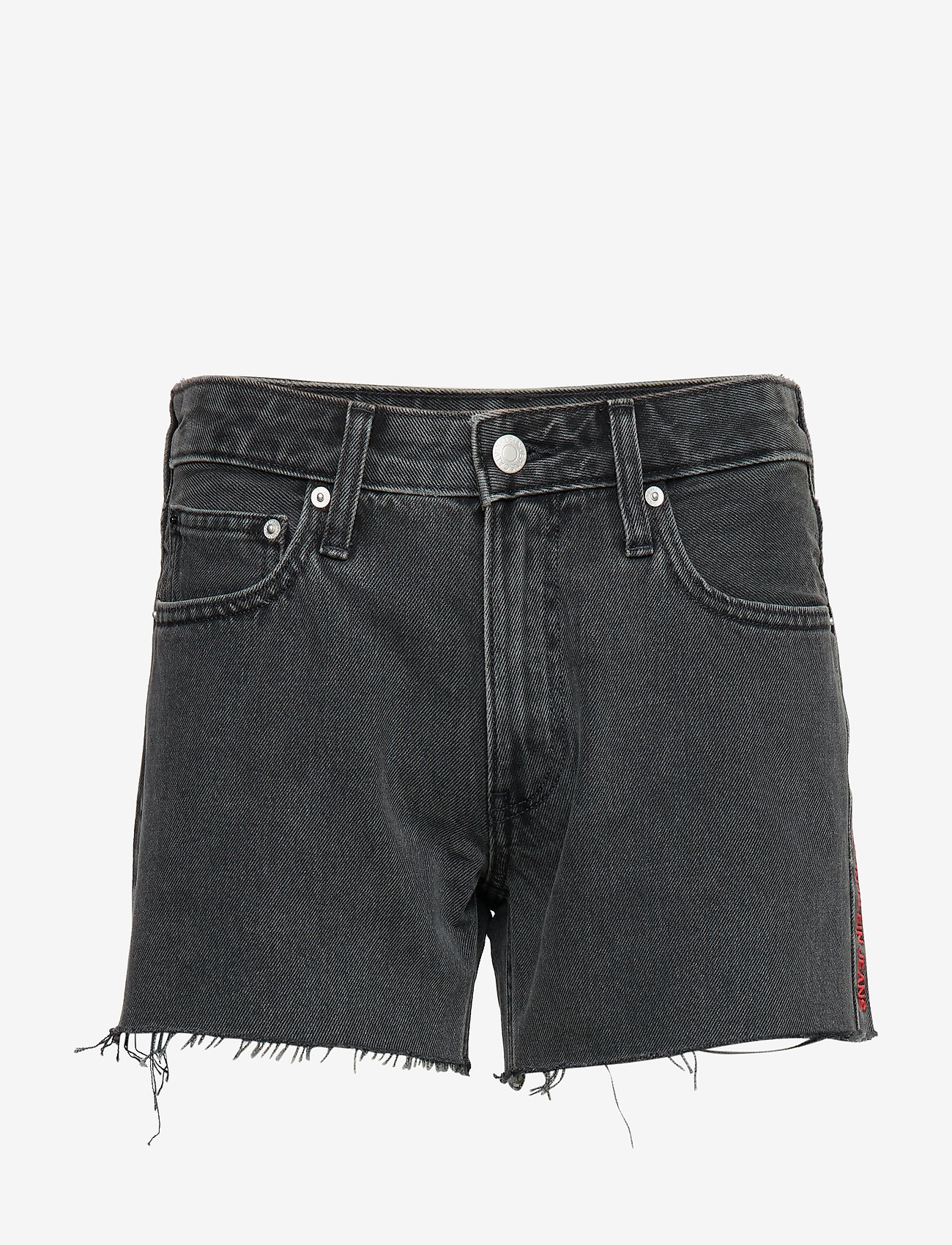 Calvin Klein Jeans - MID RISE WEEKEND SHORT - denim shorts - windy black raw embroidery red - 0
