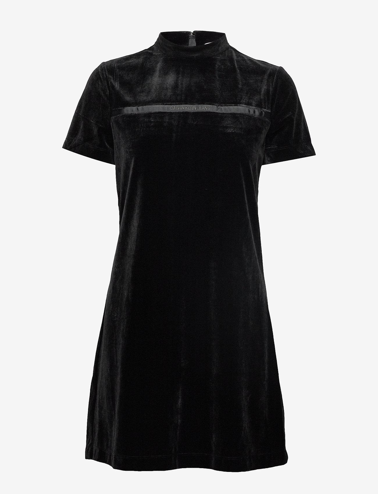 Calvin Klein Jeans - VELVET MOCK NECK DRESS - korte kjoler - ck black - 0