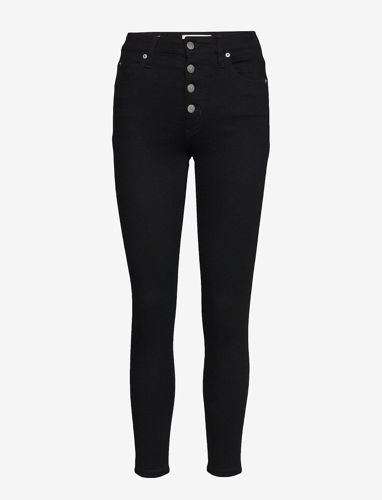 Calvin Klein Jeans - HIGH RISE SUPER SKINNY ANKLE - skinny jeans - da091 clean black shank - 0