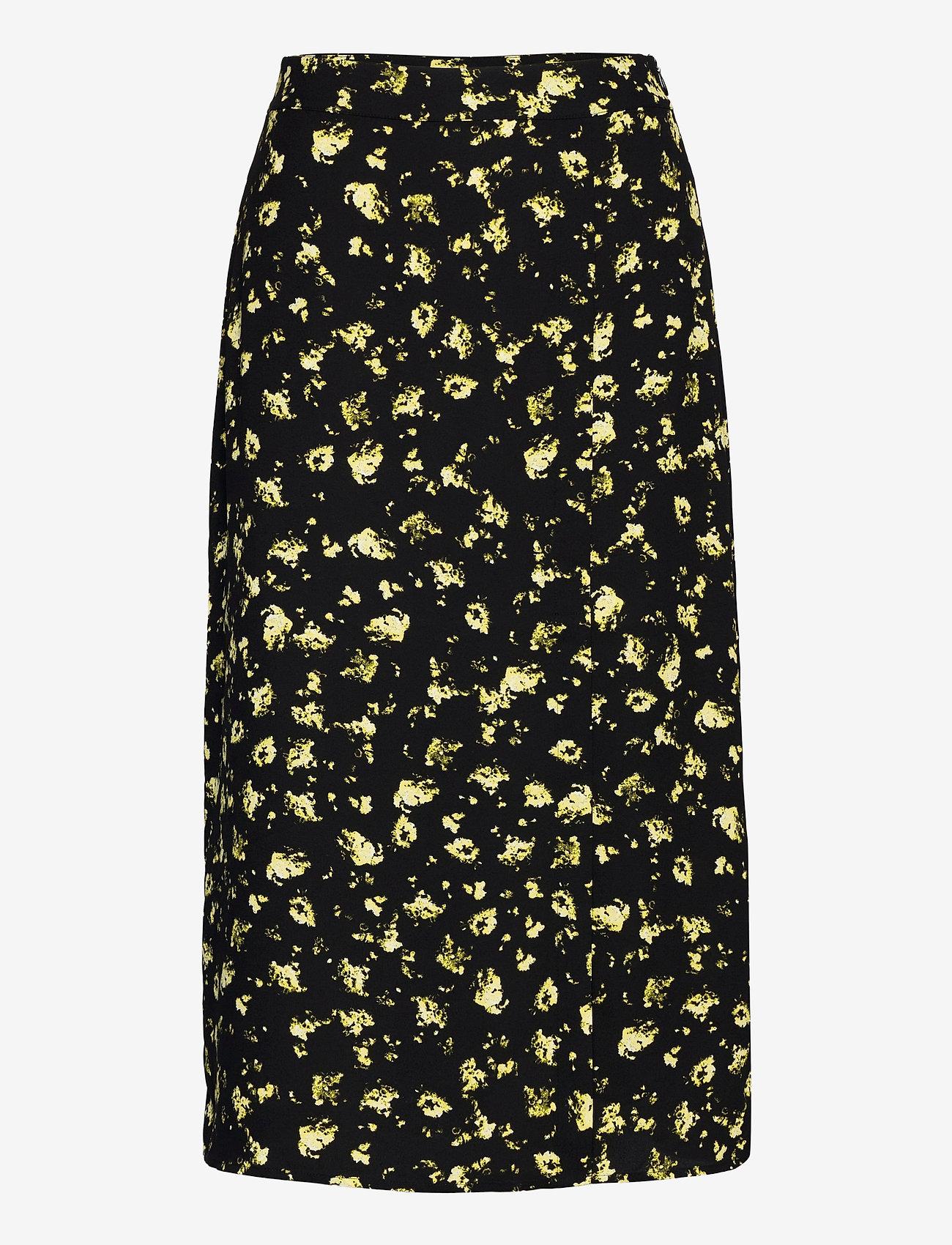 Calvin Klein Jeans - FLORAL MIDI SKIRT - midi skjørt - black grungy halftone yellow f - 0