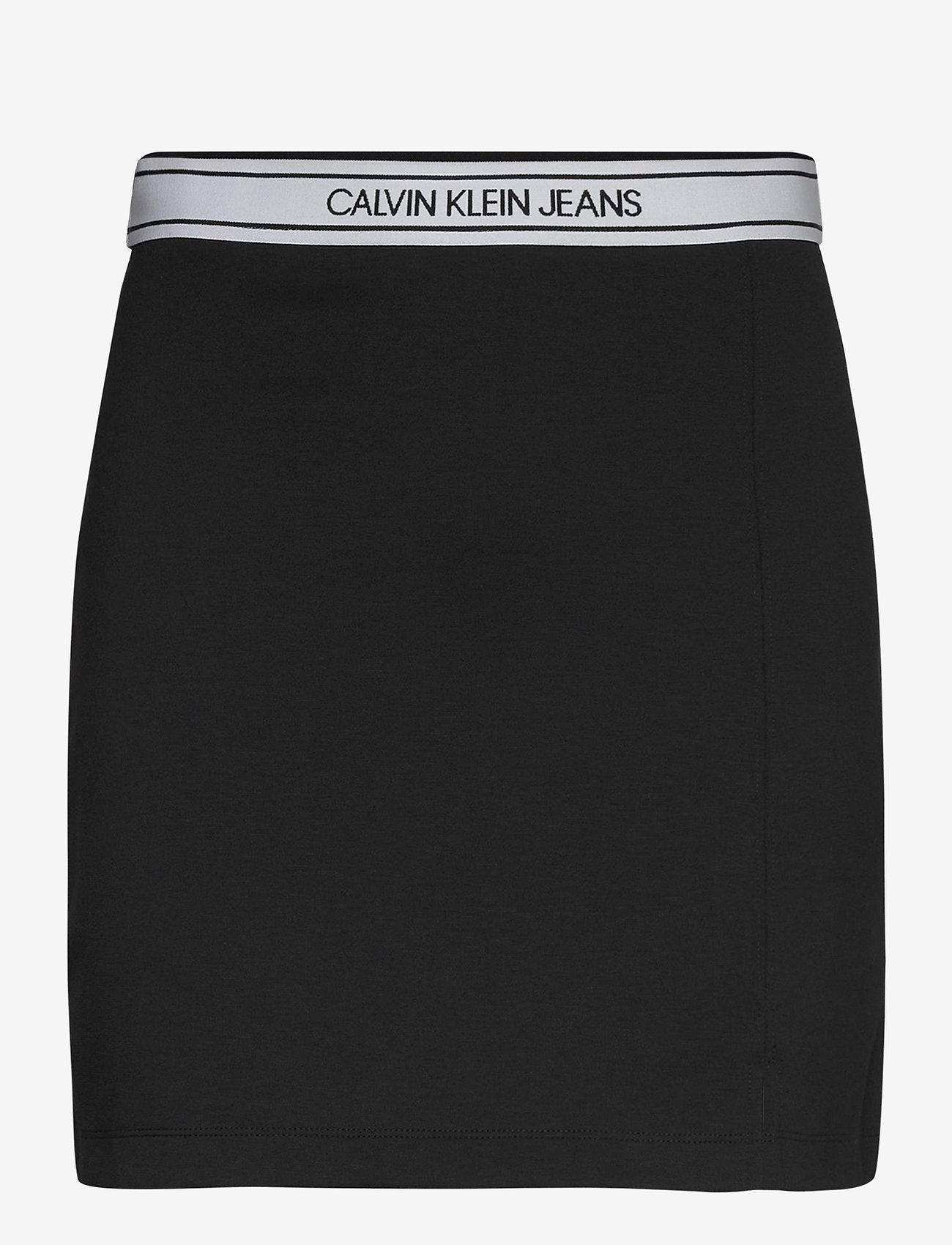 Calvin Klein Jeans - LOGO ELASTIC MILANO MINI SKIRT - kort skjørt - ck black - 0