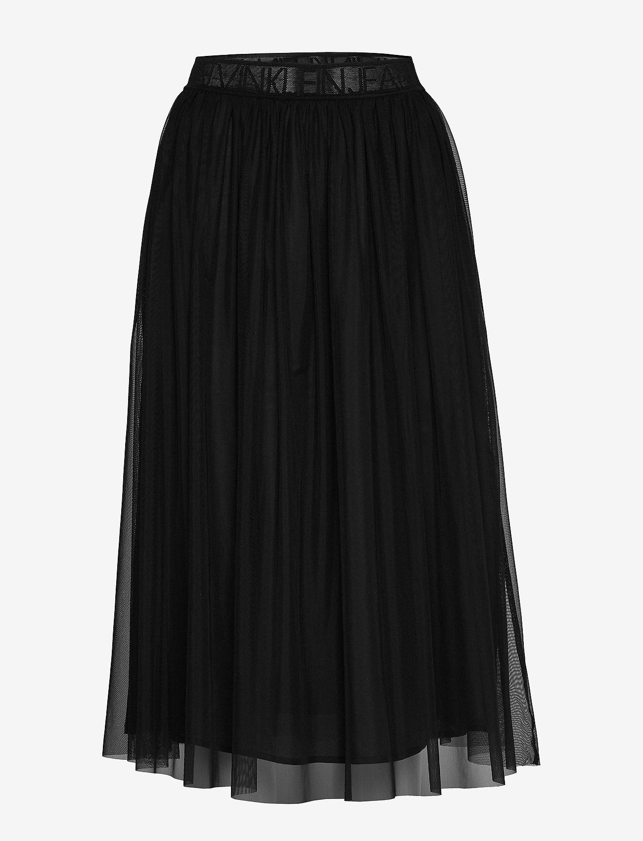 Calvin Klein Jeans - DOUBLE LAYER MESH SKIRT - do kolan & midi - ck black