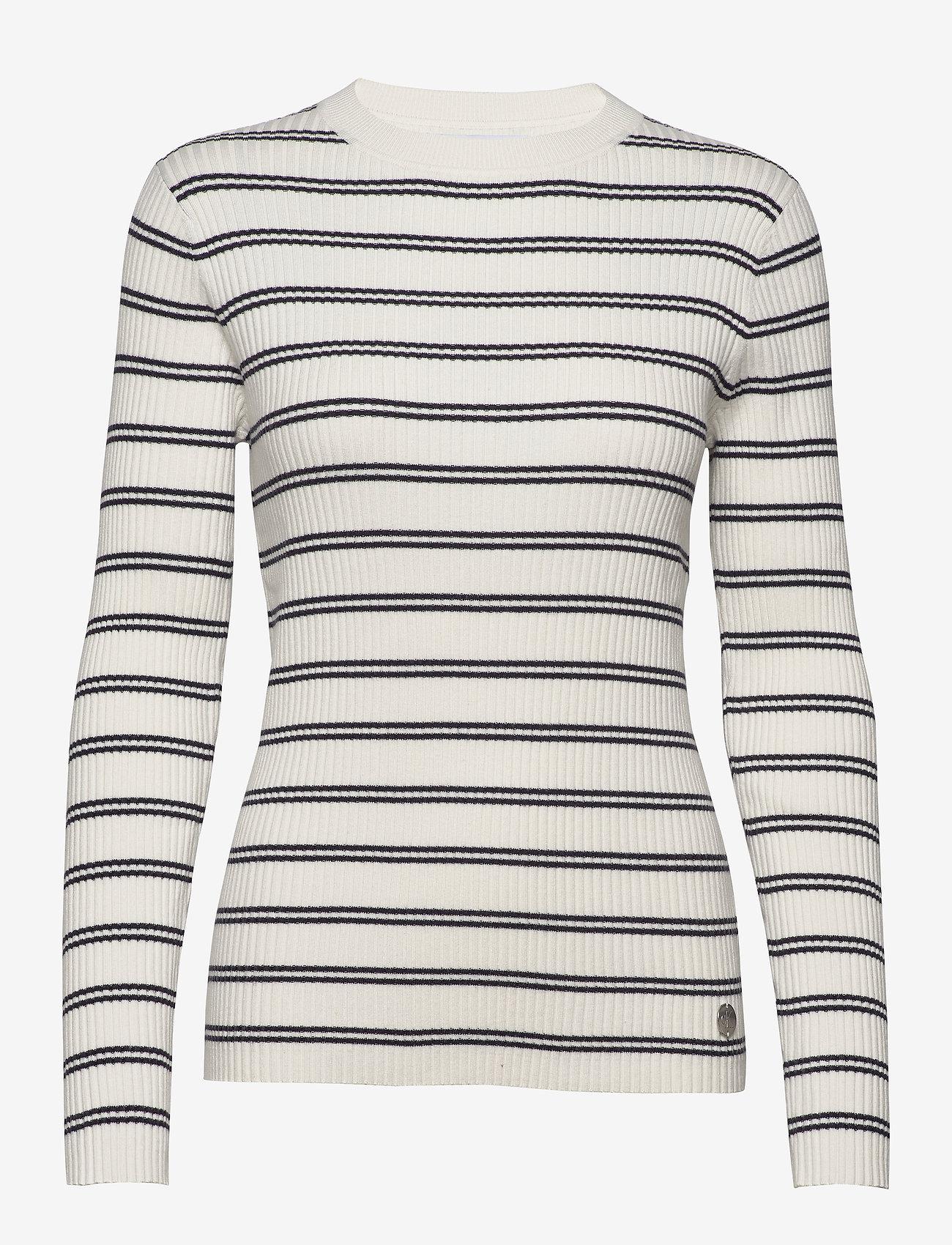Calvin Klein Jeans - STRIPE RIB SWEATER - gensere - creamy white - 0