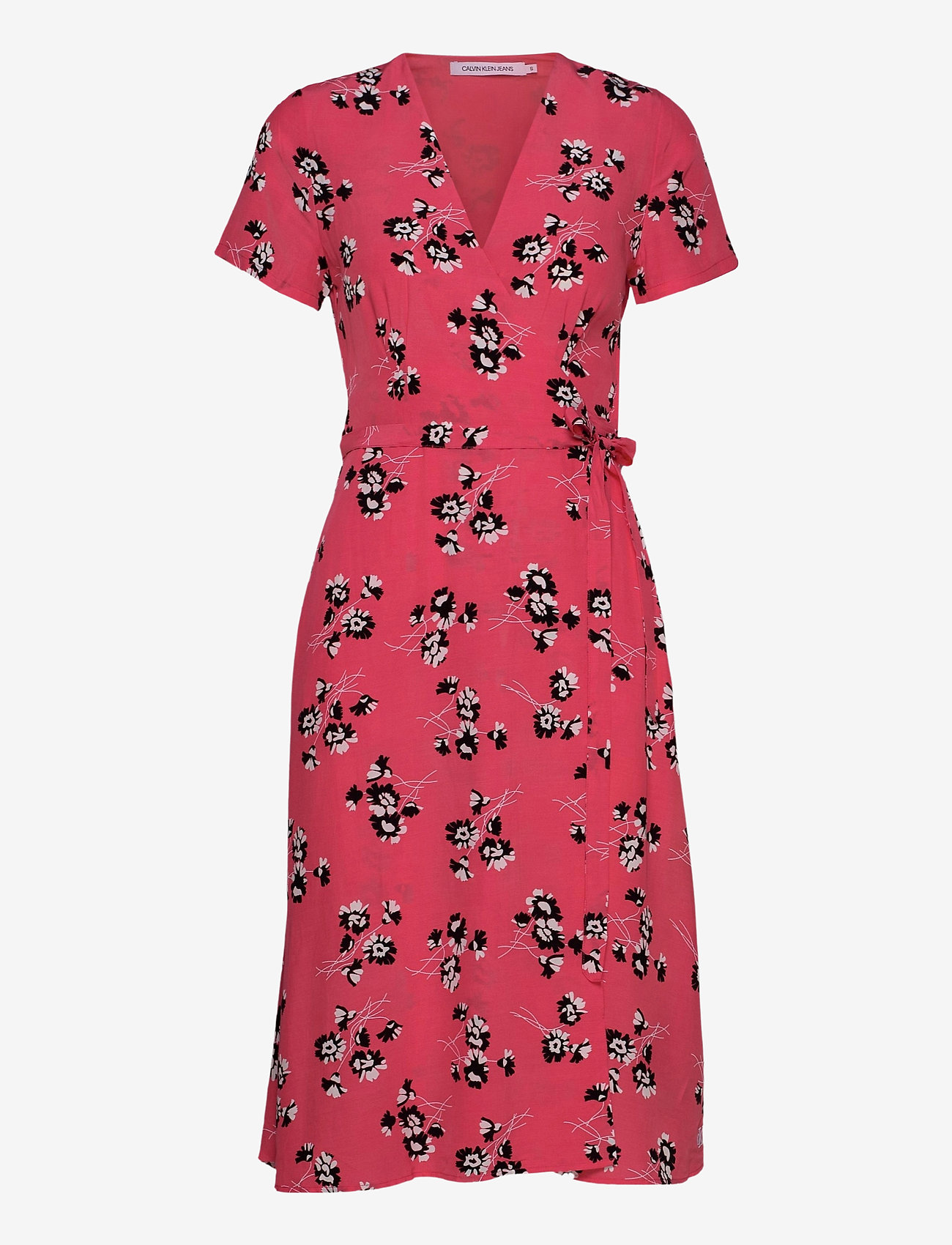 Calvin Klein Jeans - WRAP FLORAL DRESS - midi kjoler - island punch w/black spaced floral - 0