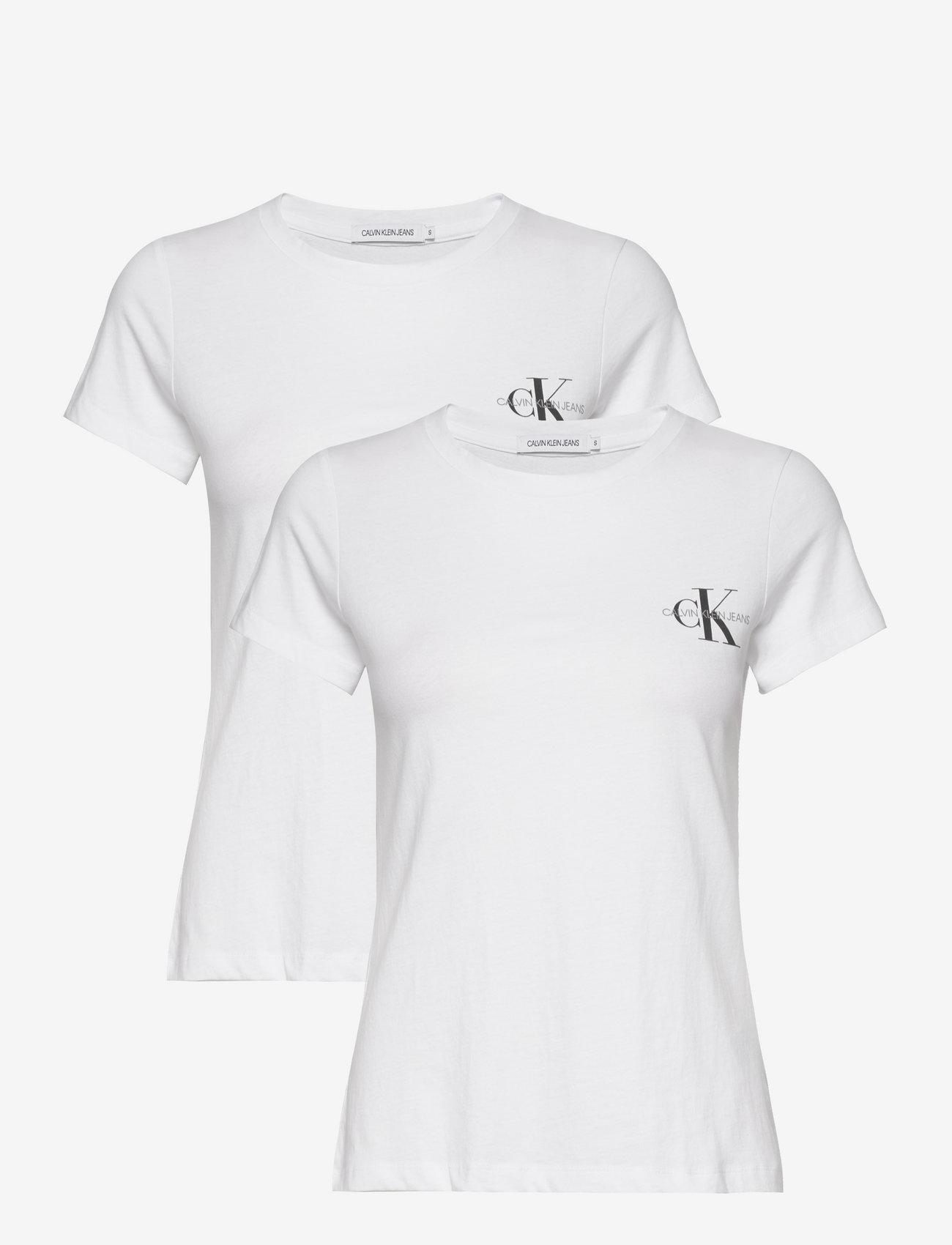 Calvin Klein Jeans - 2 PACK SLIM T-SHIRT - t-shirts - bright white / bright white - 0