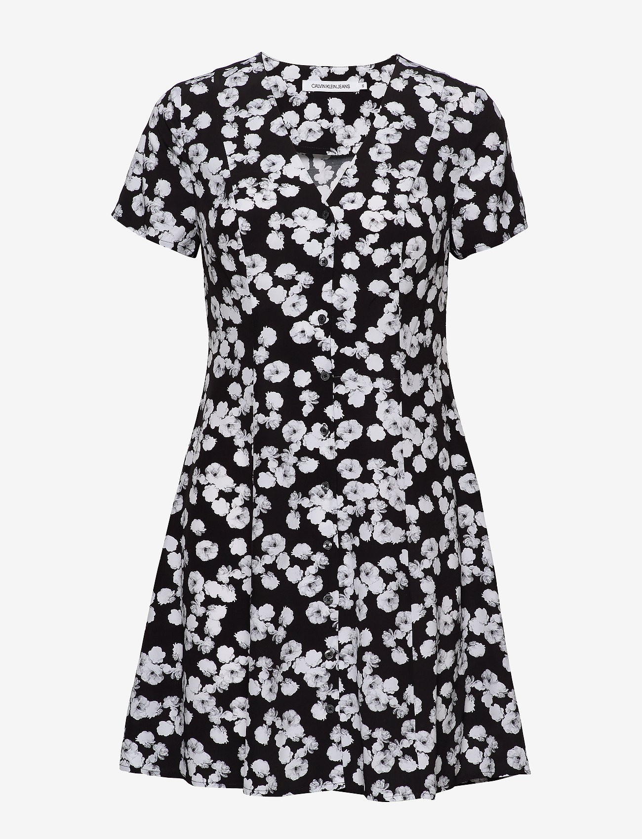 Calvin Klein Jeans - FLORAL  SS DRESS - korte kjoler - black with white peony floral