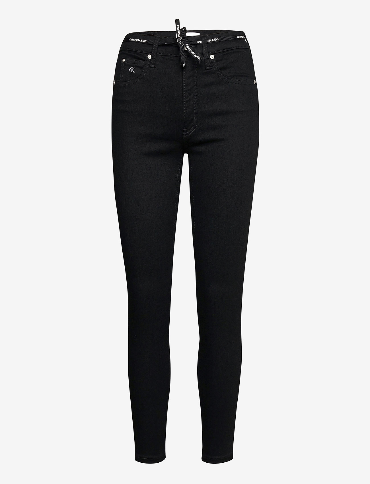 Calvin Klein Jeans - HIGH RISE SUPER SKINNY ANKLE - skinny jeans - bb217 - rinse black lace wb - 0